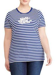 Plus Monogram Striped Cotton Tee