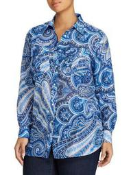 Plus Paisley Button-Down Shirt
