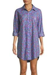 Plus Printed Roll-Up Sleeve Sleepshirt