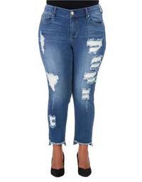 Plus Plus Distressed Hi-Lo Skinny Jeans