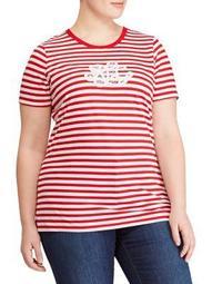 Plus Striped Logo Cotton Jersey Tee