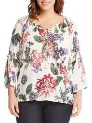 Plus Ruffled Floral Top