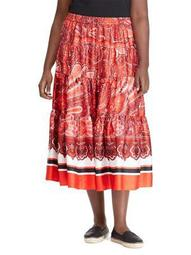 Plus Twill A-Line Maxi Skirt