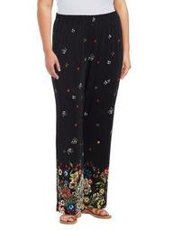 Plus Floral Graphic Pants