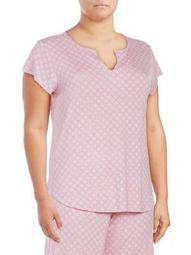 Plus Geometric Short-Sleeve Pajama Top
