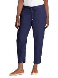 Plus Mid-Rise Linen Straight Pants
