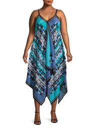 Plus Printed Asymmetrical Maxi Dress