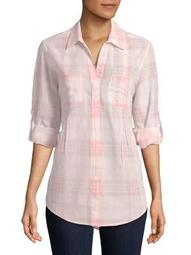 Plus Roll-Tab Plaid Shirt