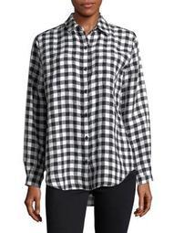 Plus Check Linen Hi-Lo Button-Down Shirt