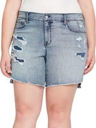 Plus Mika Best Friend Distressed Denim Shorts