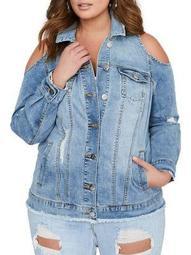 Plus Addition Elle Love and Legend X Jordyn Woods Cold-Shoulder Denim Jacket