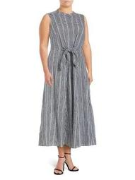 Plus Printed Cotton Midi Dress