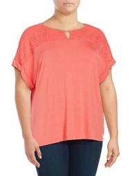 Plus Lace Overlay Top