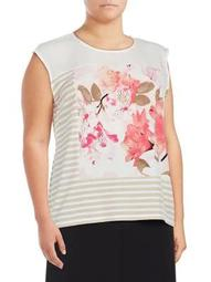 Plus Sleeveless Striped Floral Top