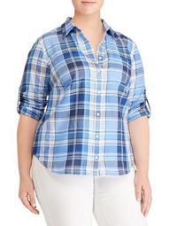 Plus Plaid Cotton Twill Button-Down Shirt