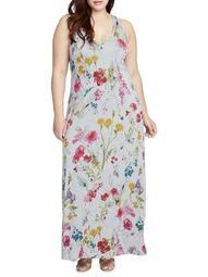 Plus Racerback Floral Maxi Dress