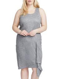 Plus Asymmetric Ruffle Dress
