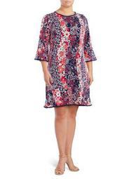 Plus Floral Bell-Sleeve Dress
