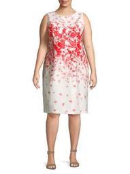 Plus Floral-Print Sheath Dress