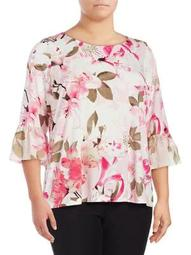 Plus Floral Bell-Sleeve Top