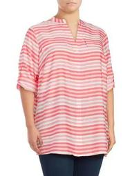 Plus Splitneck Stripe Utility Blouse
