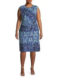 Plus Seaside Tile Sheath Dress