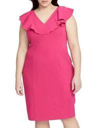 Plus V-Neck Ruffle Sheath Dress