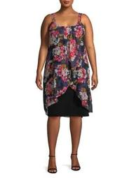 Plus Floral Pleated Knee-Length Dress