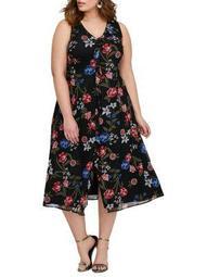 Plus Floral Mesh Front Ruffle Midi Dress