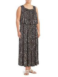 Plus Leopard Print Maxi Dress