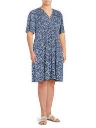 Plus Printed Short-Sleeve Shift Dress