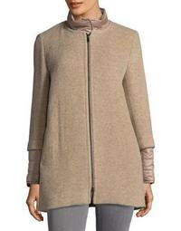 Petite Zip Front Wool Blend Coat with Removable Collar