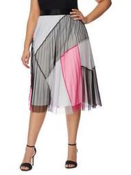 Plus Pleated Mesh Midi Skirt