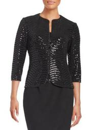 Plus Sequined Jacket and Tank Set