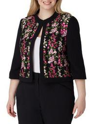 Plus Embroidered Mesh-Frame Jacket