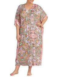 Plus Damask Border Lounge Caftan