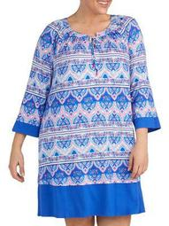 Plus Printed Three-Quarter Sleeve Sleep Dress