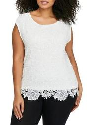 Plus Front Lace Boxy Roundneck Top
