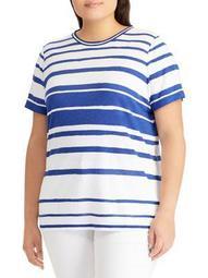 Plus Striped Jersey Top