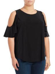 Plus Ruffled Cold-Shoulder Top
