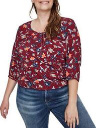 Plus Gathered Floral Top