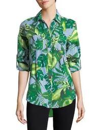 Plus Nancy Striped Leaf Cotton Button-Down Shirt