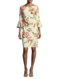 Plus Floral Bell-Sleeve Sheath Dress