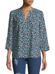 Plus Printed Quarter-Sleeve Blouse