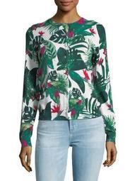 Plus Rain Forest-Print Cotton Sweater
