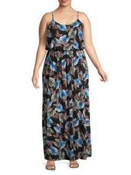 Plus Printed Scoopneck Maxi Dress