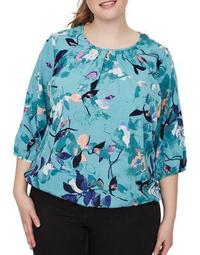 Plus Emilija Wresta Three-Quarter Sleeve Blouse