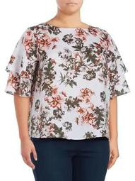 Plus Tiered Floral Linen Top