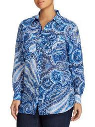 Plus Paisley Button-Down Shirt