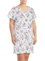 Plus Lace-Trimmed Floral Nightgown